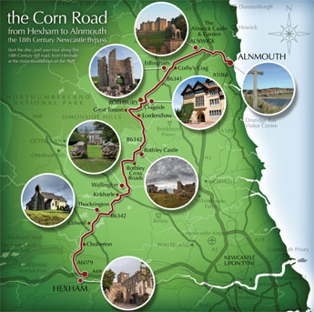 The Corn Road from Hexham to Alnmouth - Map